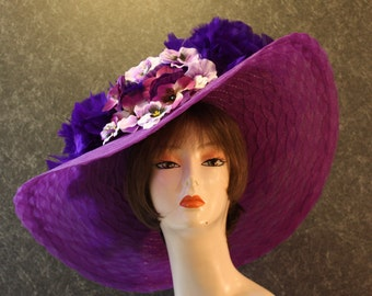 NEW LOWER PRICE! Kentucky Derby Hat, Garden Party Hat, Tea Party Hat, Easter Hat, Church Hat, Wedding Hat, Derby Hat, hat  Violet Hat 437