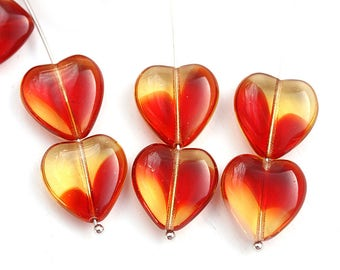 15mm Red and Amber Yellow Heart beads, Mixed Red czech glass pressed beads, 10Pc - 3023