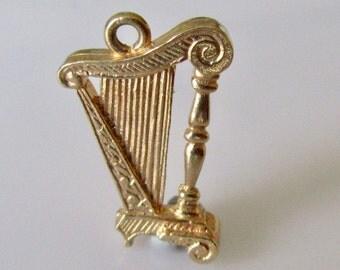 Vintage 9ct Gold Harp Charm or Pendant