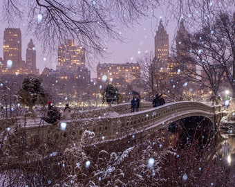 Bow Bridge in the Snow - Central Park During the Winter at Night- New York City Photography