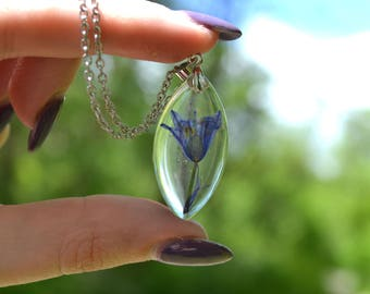 Real Pressed Bluebell Flower Resin Boho Botanical Pendant Marquee Diamond
