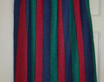 Vintage Pleated Skirt Dalton Striped Green Red Blue Jewel Tones