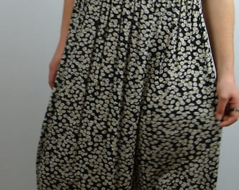 90's DAISY MAXI DRESS daisies black loose fit M