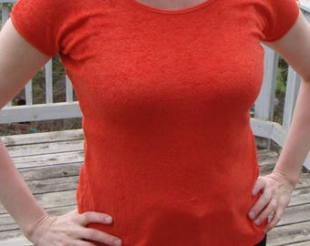 coral red TERRY TEE SHIRT fitted stretch t-shirt 70's 80's M vintage