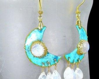 Moon Earrings, Patina Crescent, Rainbow Moonstone Earrings, Gold Beaded Crescents, Rainbow Moonstone Drops