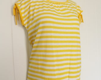 Vintage Yellow Striped Top - Yellow and White Striped Cotton Top - Summer Shirt - Cute - Medium