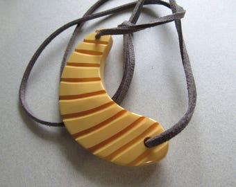 Maize Color Genuine Bakelite Carved Pendant Necklace Upcycled Cruelty Free Vegan Faux Suede Cording Boho Costume Jewelry MoonlightMartini