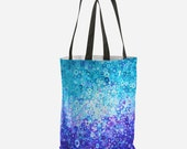 Blue Circles Tote Bag - Whimsical Tree of Life Weatherproof Fully Lined Reusable Tote Shopping Beach Bag Gym Bag Swimming Tote