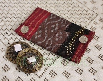 Small Assuit Zil Bag- Spicy Hot Chocolate Ikat Cotton and Assiut Finger Cymbal Pouch