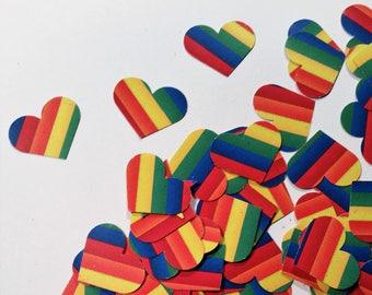 "Hearts, Small ~ 1"" Rainbow Hearts, Confetti, Rainbow Party, Wedding, Baby Shower Decor , Flower Girl Toss, Rainbow Printed on Both Sides"