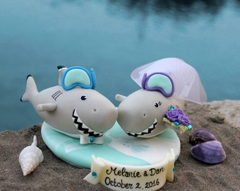 Custom wedding cake topper, shark cake topper, bride and groom cake topper, fish cake topper, beach wedding, destination wedding