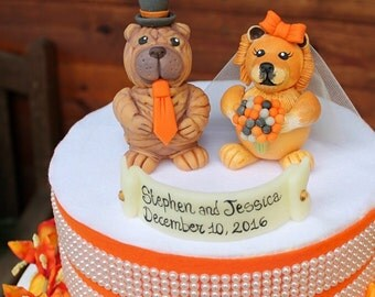 Wedding dog cake topper, Chow Chow and Shar Pei cake topper, custom bride and groom cake topper, pet cake topper, wedding dogs
