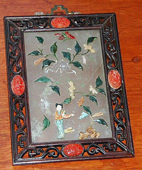Rare Antique Early C 1800s CHINESE JADE Hard Stone TABLE Screen N Hand Carved Framed Plaque w/ Cornelian Stones, n 'as found' Condition