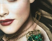 Malachite in a Gold Cage Pendant Necklace- Velvet Green Malachite- Raw Green Mineral- Rough Cut Stone- Statement Necklace  Pauletta Brooks