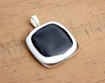 Black and White Abstract Fused Glass Pendant, Black and White Pendant, Black and White Jewelry, Fused Glass Jewelry, Fused Glass Necklace