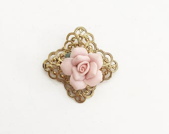 Beautiful Vintage Rose And Gold Filigree Brooch Ceramic Rose