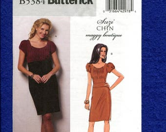 Butterick 5384 Suzi Chin Country Chic Fitted Dress with Puff Sleeves Size 8..10..12..14 UNCUT