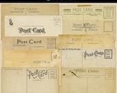 Antique Postcard Backs Shabby Grunge Vintage Ephemera Set of 10 Digital Download PNG Images