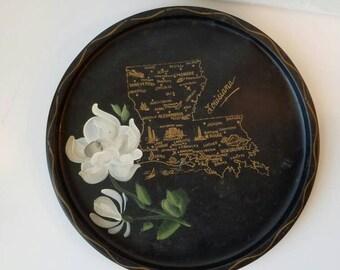 Handpainted Louisiana state Tole Tray Nashco Tin Tray Magnolia Black Gold Toleware