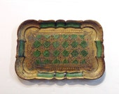 Vintage Rectangular Gold Leaf Tray, Florentine Style, Green and Gold