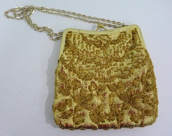 Mid Century Gold Beaded Evening Handbag Purse Made in Hong Kong