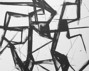 "14 x 14  Modern Abstract Fine Art Original Black and White Ink Painting "" Untitled 2036"""