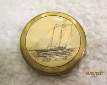 scrimshaw style, carved schooner, solid brass paperweight, AMERICA 1851