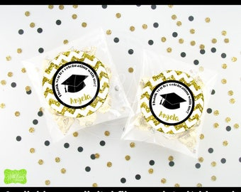 Glitter Graduation Favor Stickers - Personalized Graduation Stickers - Gold Graduation Stickers - Class of 2017 - Digtal & Printed