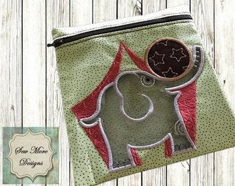Kids Reusable Zippered Elephant Snack Bags  with Vinyl Window