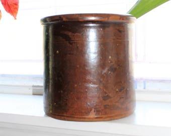 Antique Stoneware Crock Dark Brown 1800s Rustic Farmhouse Decor