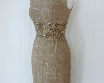 60's Trompe L'Oeil Dress Tweed Print Linen Shift Paisley Cocoa Wiggle Tight Sexy Dress S XS XXS