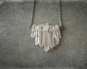 White Raw Quartz Point Crystal Necklace, Natural Stone Necklace Stainless Steel Wire Wrapped, Primitive Rustic Jewelry