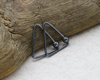 Triangle Hoop Earrings Small Hoop Earrings Silver Hoop Earrings Small Hoop Earings Geometric Earrings Geometric Earings Minimalism Earings