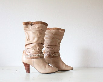blonde leather slouch boots /  7/7.5