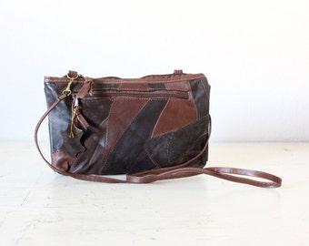 Vintage 80's Patch Leather Cross Body Handbag