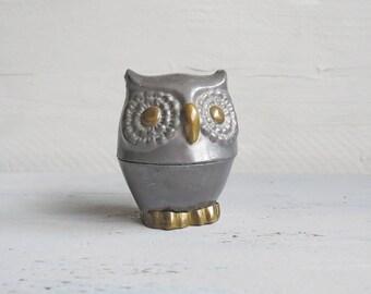 Vintage Pewter and Brass Owl Trinket Box - Pewter Duck - Vintage Owl - Boho Decor