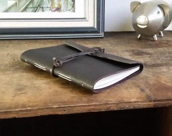 "Slim Leather Journal - Dark Brown Journal 4.5"" x 6"" by The Orange Windmill 1712"