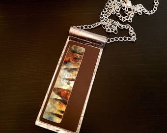 Recycled Jewellery - Metal and Copper Necklace Pendant