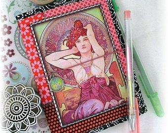 OOAK Field Notes, Passport or Pocket Fauxdori, Alphonse Mucha Design