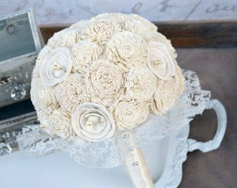 Cream Ivory Wedding Bouquet // Romantic, Ivory, Cream, Lace, Bride Bouquet, Bridal Bouquet, Sola Bouquet, Wedding Flowers, Keepsake Bouquet