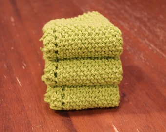 3 Hand Knitted Dish Cloths, Dish Rags, Hot Green Sugar'n Cream Yarn, 100% Cotton, Bright, Kitchen Wash Cloths, washcloths, dishcloths