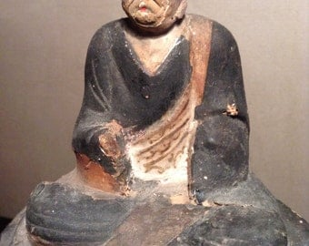 Antique Chinese carved wood Buddha temple figure seated Buddha
