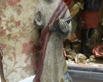 1800's Santos , Antique Hand Carved Saint with Bible and Bird, Vintage Polychrome, Saint Benedict of Nursia