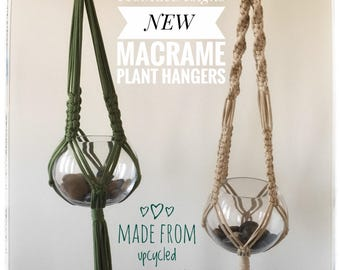 Upcycled Retro Boho Macrame Plant Hanger made with cotton jersey t-shirts choose your colour and size hangs on natural wood ring