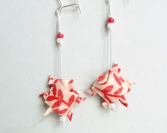 Red and white Turtle Origami Earrings