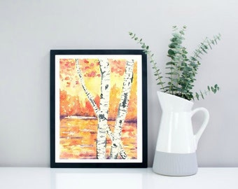 Giclee Art Print, Fall Birch Trees, Watercolor Painting, Orange, Fall Decor, Birch Tree Painting, Fall Watercolour Painting, Fall Art