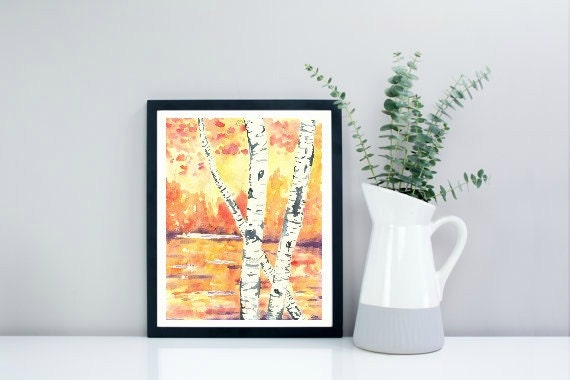 Giclee Art Print, Fall Birch Trees, Watercolor Painting, Orange, Fall Decor, Birch Tree Painting, Fall Watercolour Painting, Fall Art