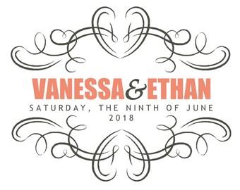Custom Wedding Logo. Wedding Monogram.  Coral Wedding.  Modern Elegant Logo.  Coral and Charcoal Wedding. Digital File