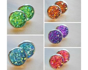 Faux Druzy Earrings - Glitter Earrings - Druzy Jewelry - Sparkly Earrings - Faux Druzy Studs - Boho Chic - Handmade