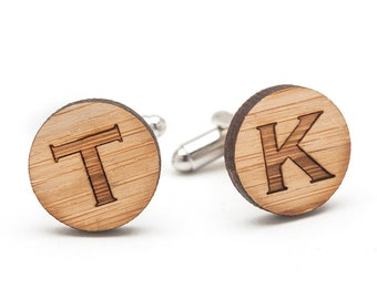 Monogrammed Cufflinks - Personalized Wood Cufflinks - Wedding Cufflinks - Groom and Groomsmen Cufflinks - Graduation Gift Ideas for Men